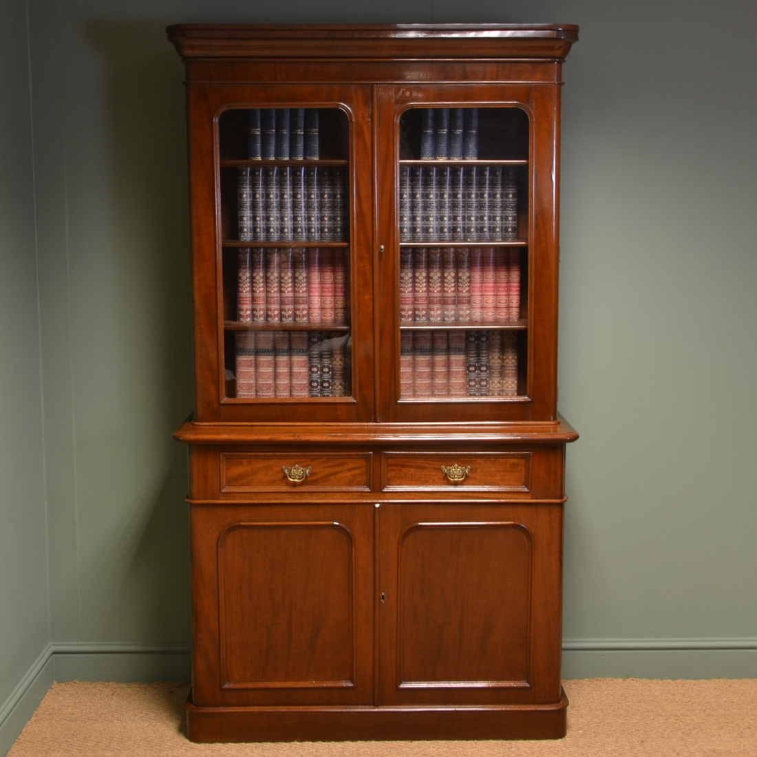 Quality Victorian Mahogany Antique Bookcase On Cupboard Antiques With Regard To Cupboard Bookcase (#8 of 15)