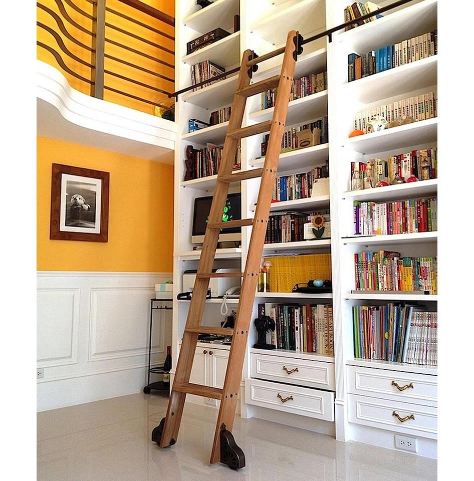 Inspiration about Quiet Glide Rolling 20w Library Ladder Kit With Ladder Black Intended For Library Ladder Kit (#12 of 15)