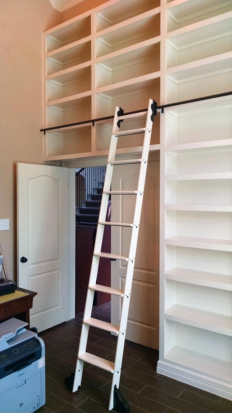 Inspiration about Quiet Glide Rolling 20w Library Ladder Kit With Ladder Black Throughout Rolling Library Ladder (#3 of 15)
