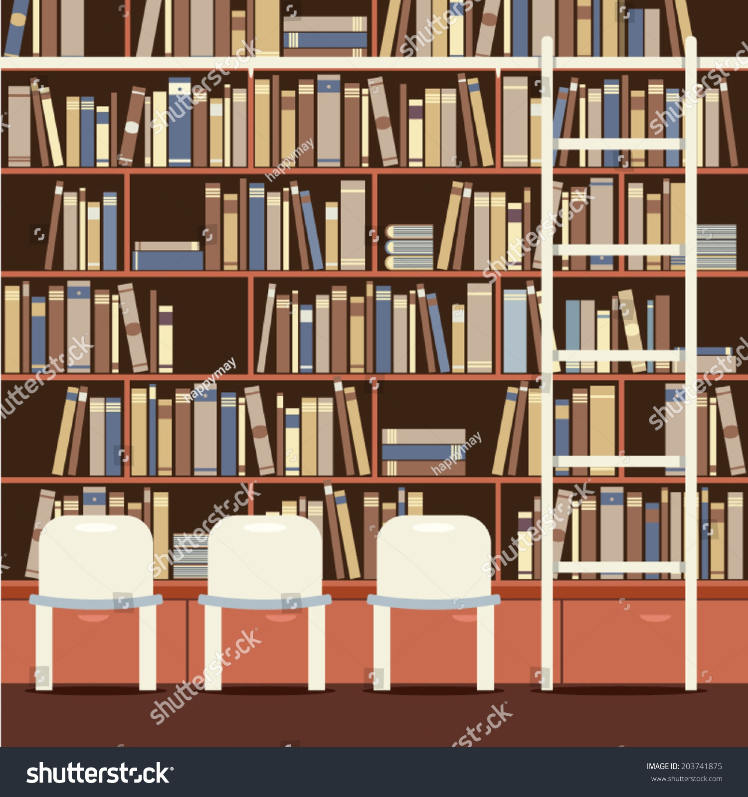 Reading Seat Front Huge Bookcase Stock Vector 203741875 Shutterstock Intended For Huge Bookcase (#13 of 15)