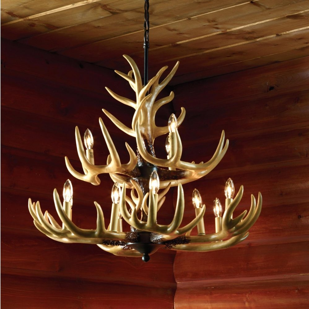 Real Antler Chandelier Engageri For Large Antler Chandelier (#8 of 12)