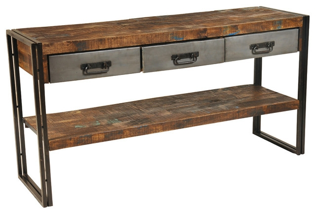 Reclaimed Wood And Metal 3 Drawers And 1 Shelf Sofa Table In Sofa Table Drawers (#9 of 15)