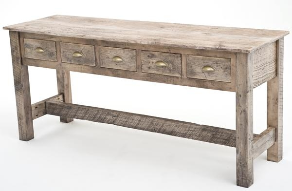 Reclaimed Wood Sofa Table Woodland Creek Furniture Within Sofa Table Drawers (#10 of 15)
