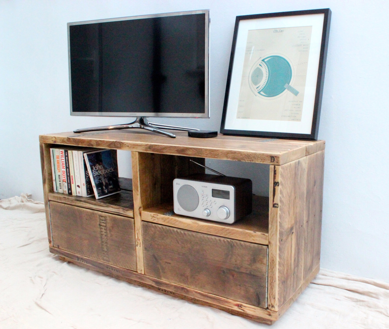 Reclaimed Wood Tv Stand Media Unit Storage Handmade With Handmade Tv Unit (View 8 of 15)