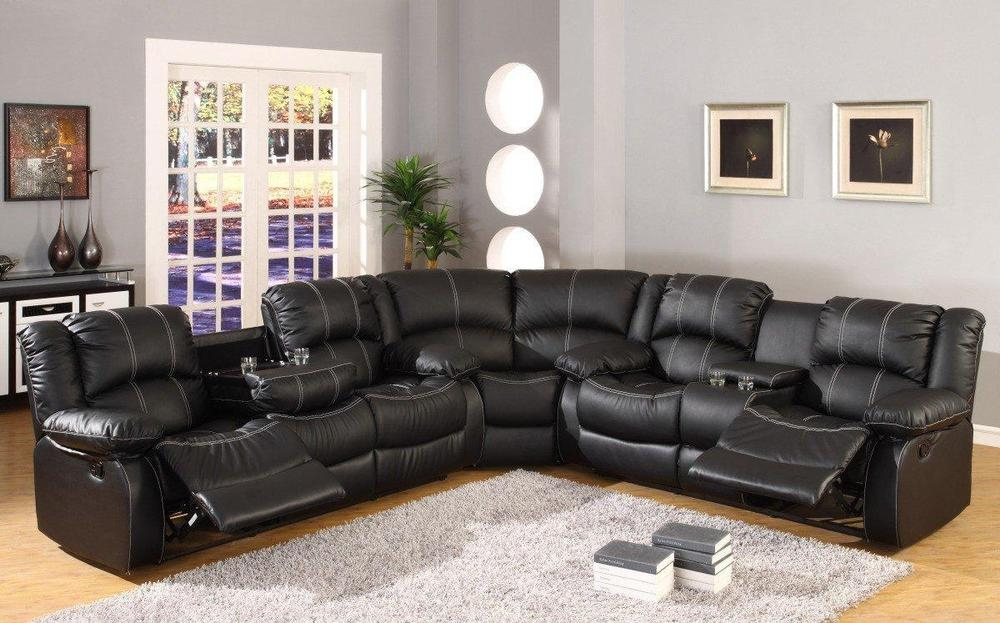 Reclining Sectional Sofas Loveseats Chaises Ebay In Black Leather Sectional Sleeper Sofas (#11 of 15)