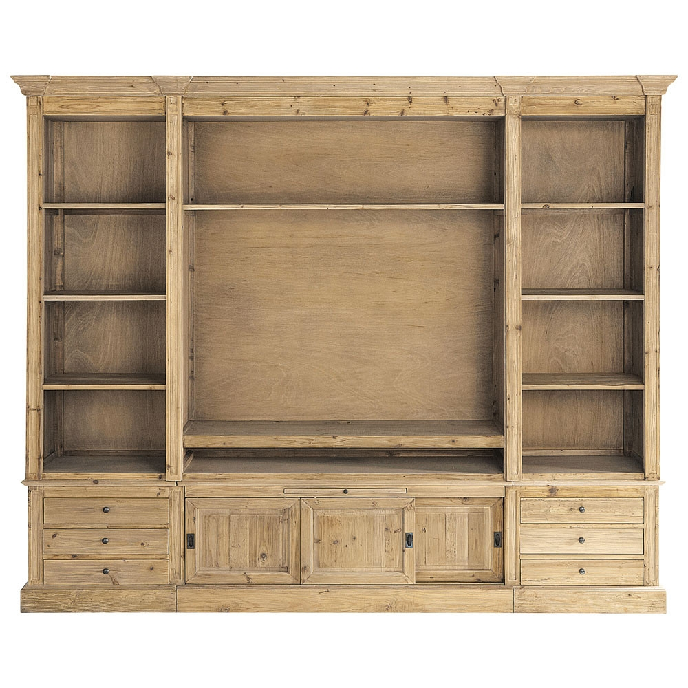 Recycled Solid Wood Tv Unit Bookcase W 264cm Passy Maisons Du Monde In Tv Bookcase Unit (#12 of 15)