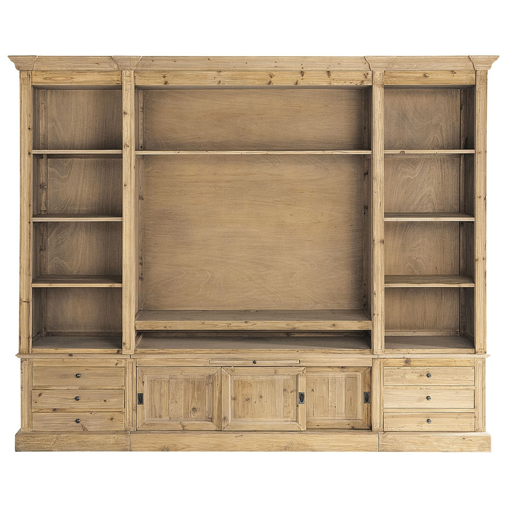 Recycled Solid Wood Tv Unit Bookcase W 264cm Passy Trabalhos Intended For Tv Unit And Bookcase (View 12 of 15)