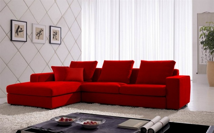 Sectional Sofas Red 665 00 Vogue Microfiber Sectional Sofa