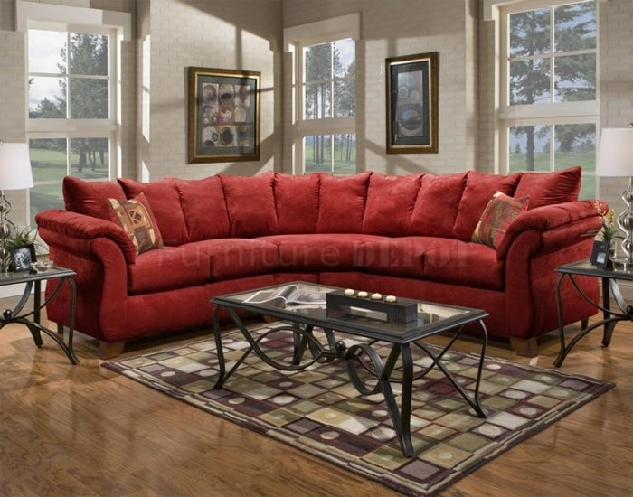 Red Sectional Sofa 2 Roselawnlutheran Regarding Red Microfiber Sectional Sofas (#11 of 15)
