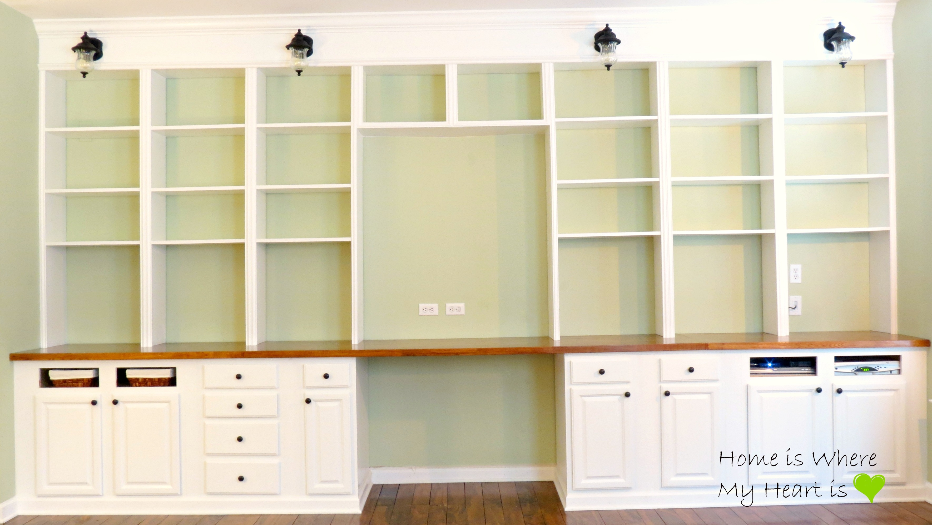 Remodelaholic Build A Wall To Wall Built In Desk And Bookcase Inside Built In Bookcase Kit (#13 of 15)