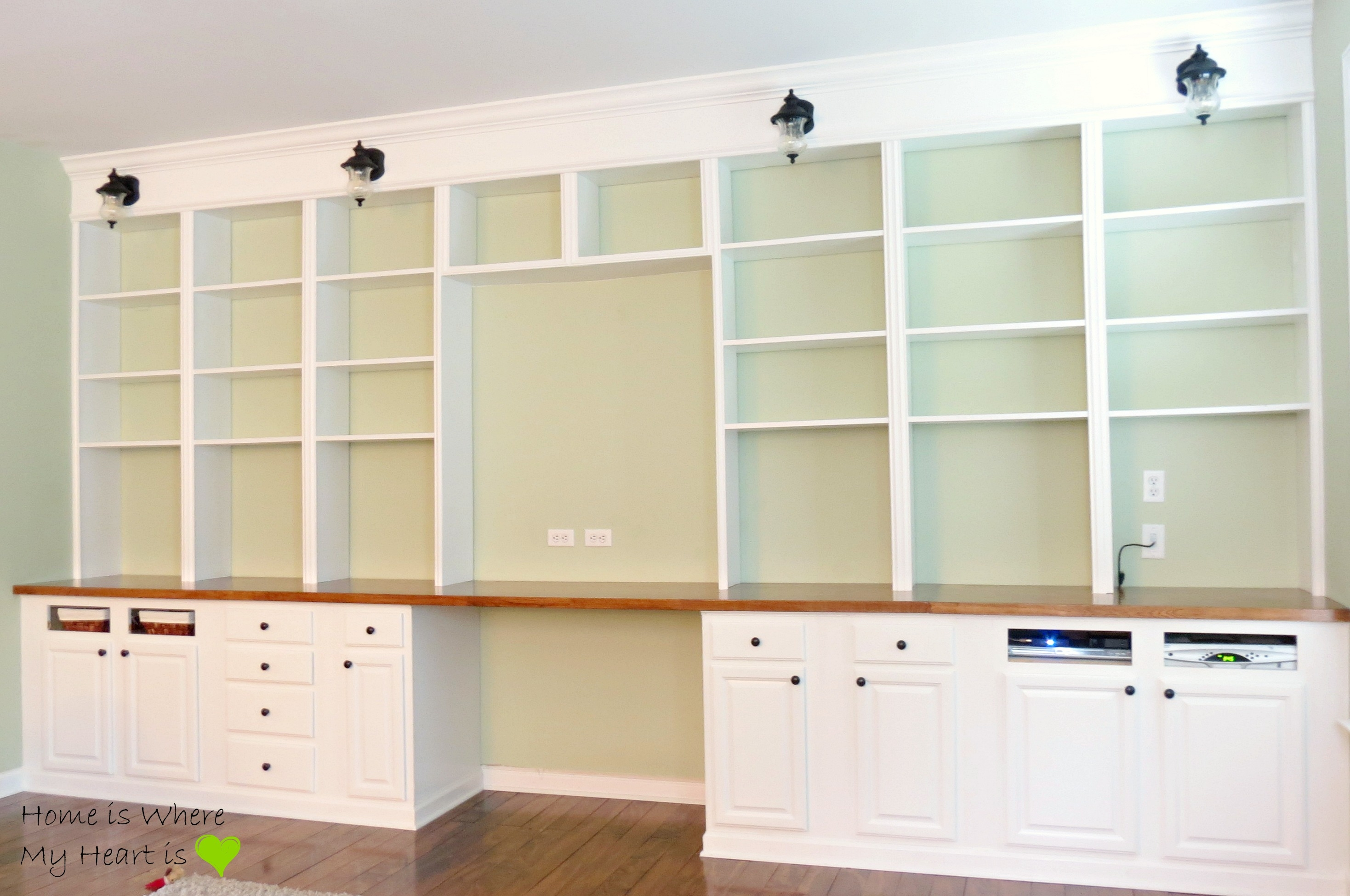 Remodelaholic Build A Wall To Wall Built In Desk And Bookcase Regarding Bookshelf With Cabinet Base (#14 of 15)