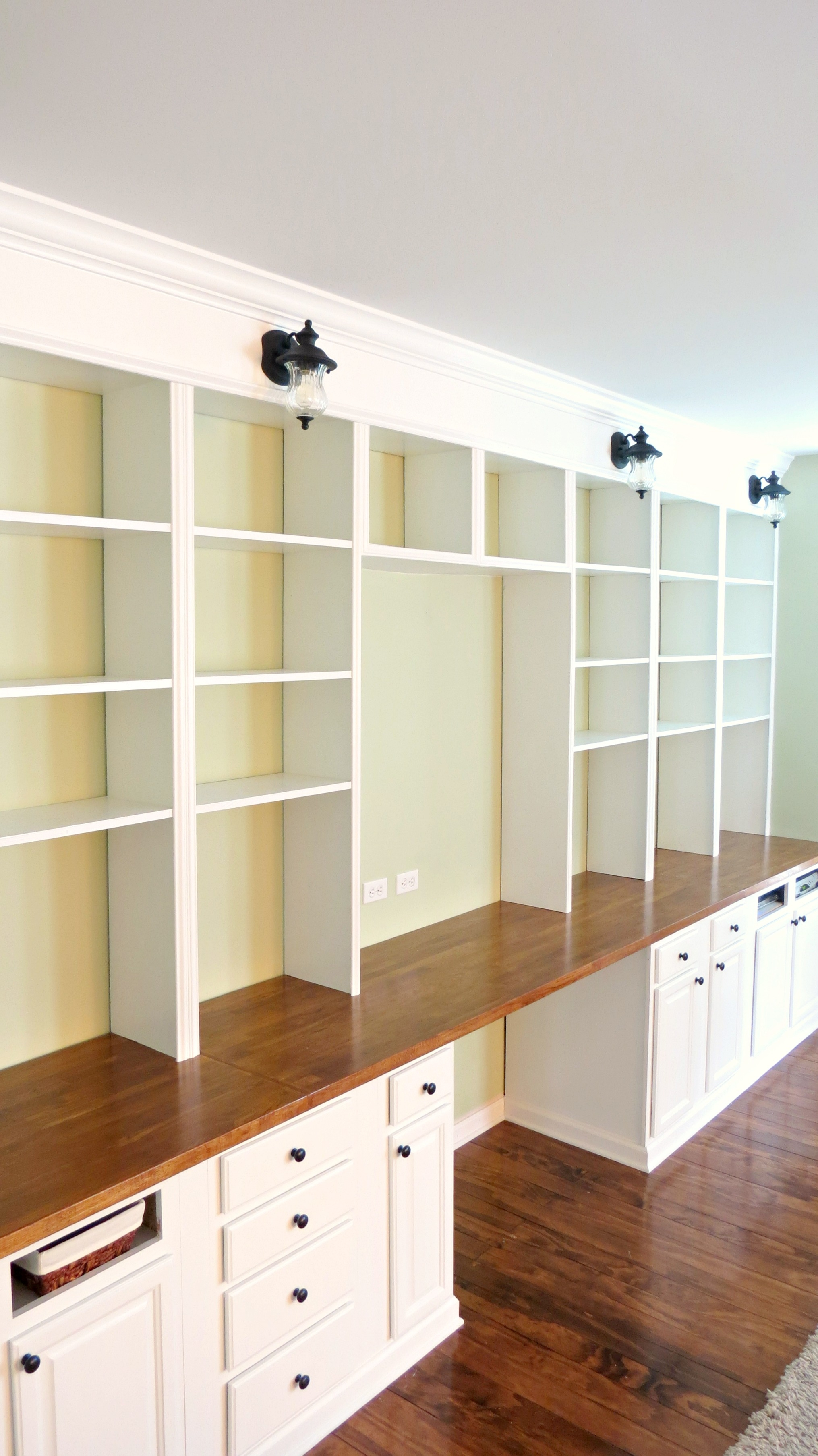 Remodelaholic Build A Wall To Wall Built In Desk And Bookcase With Regard To Bookshelf Drawer Combination (#12 of 15)