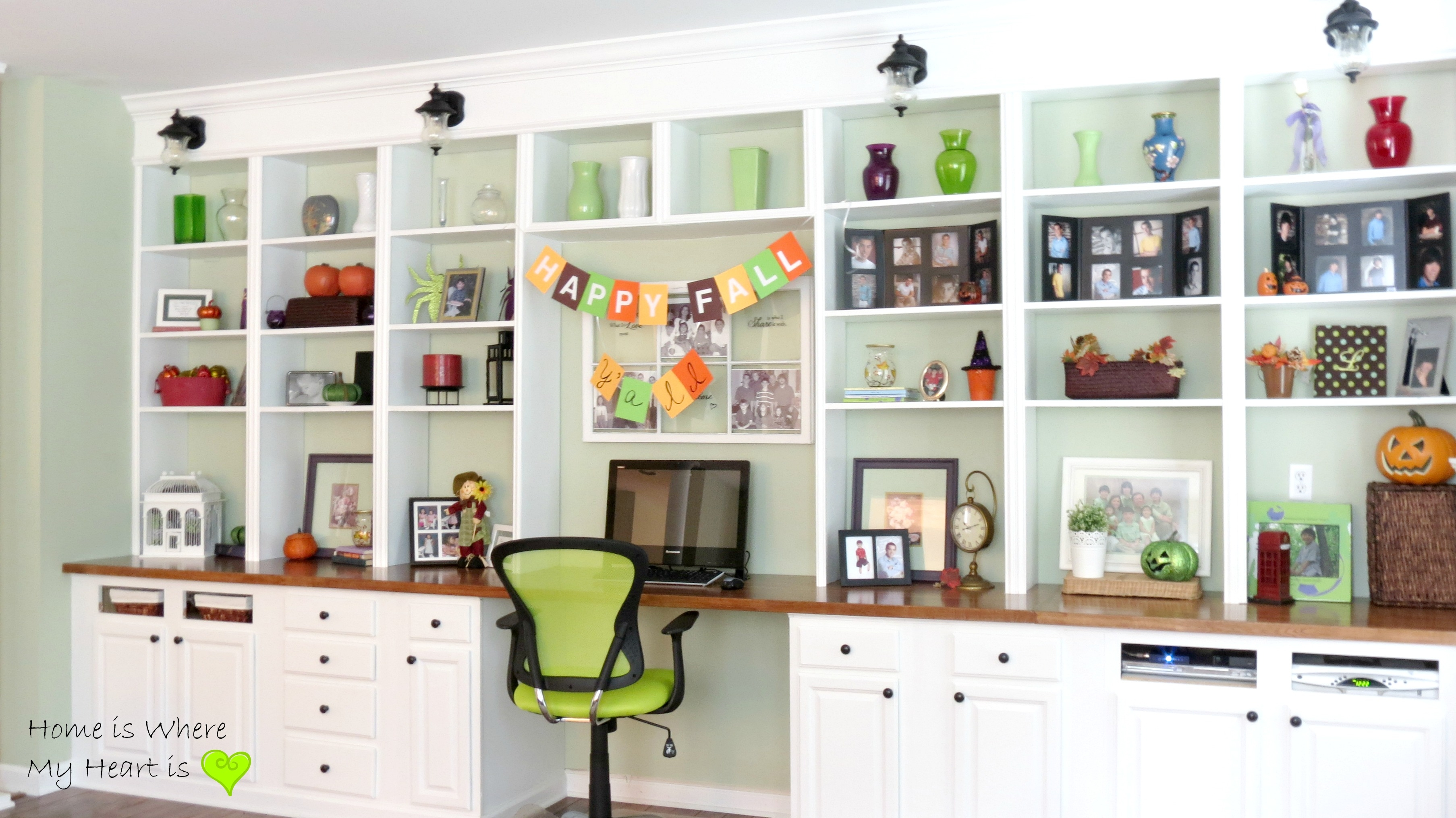Remodelaholic Build A Wall To Wall Built In Desk And Bookcase Within Full Wall Bookcases (#13 of 15)