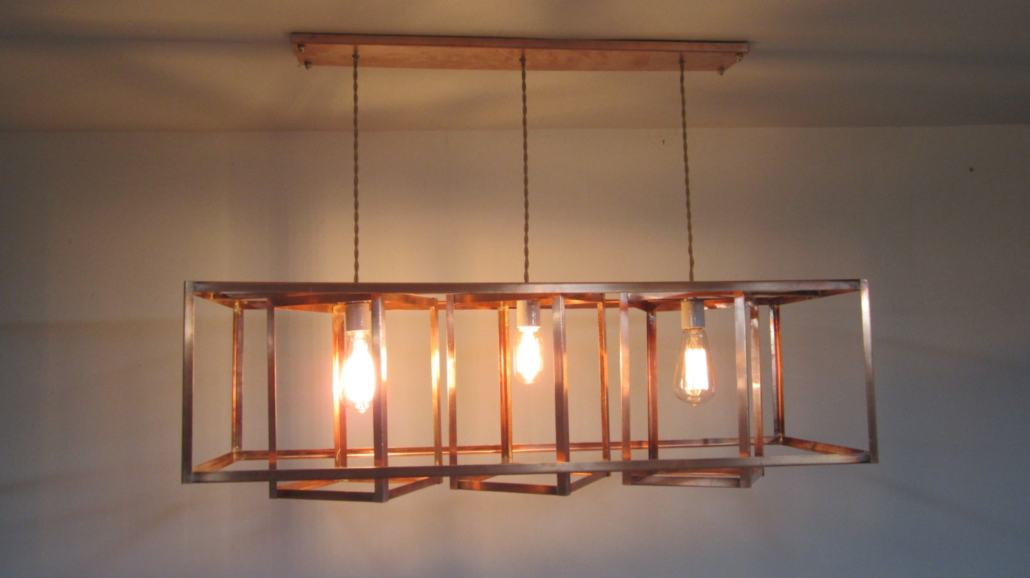 Reserved Custom Geometric Chandelier With Copper Socket Throughout Copper Chandeliers (#12 of 12)
