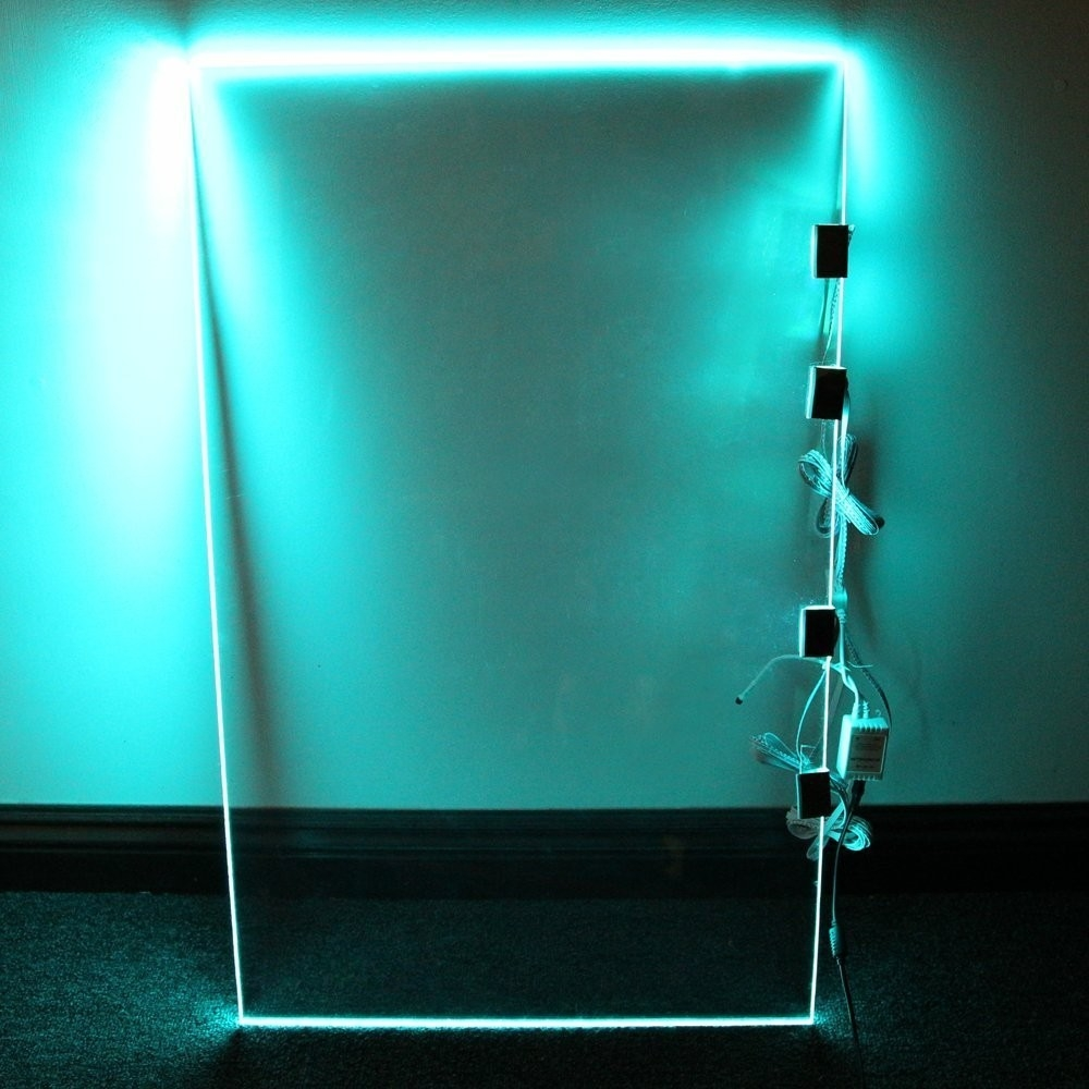 Rgb Led Glass Edge Lighting Kit Led Glass Shelf Lights Torchstar With Regard To Glass Shelves With Lights (#11 of 12)