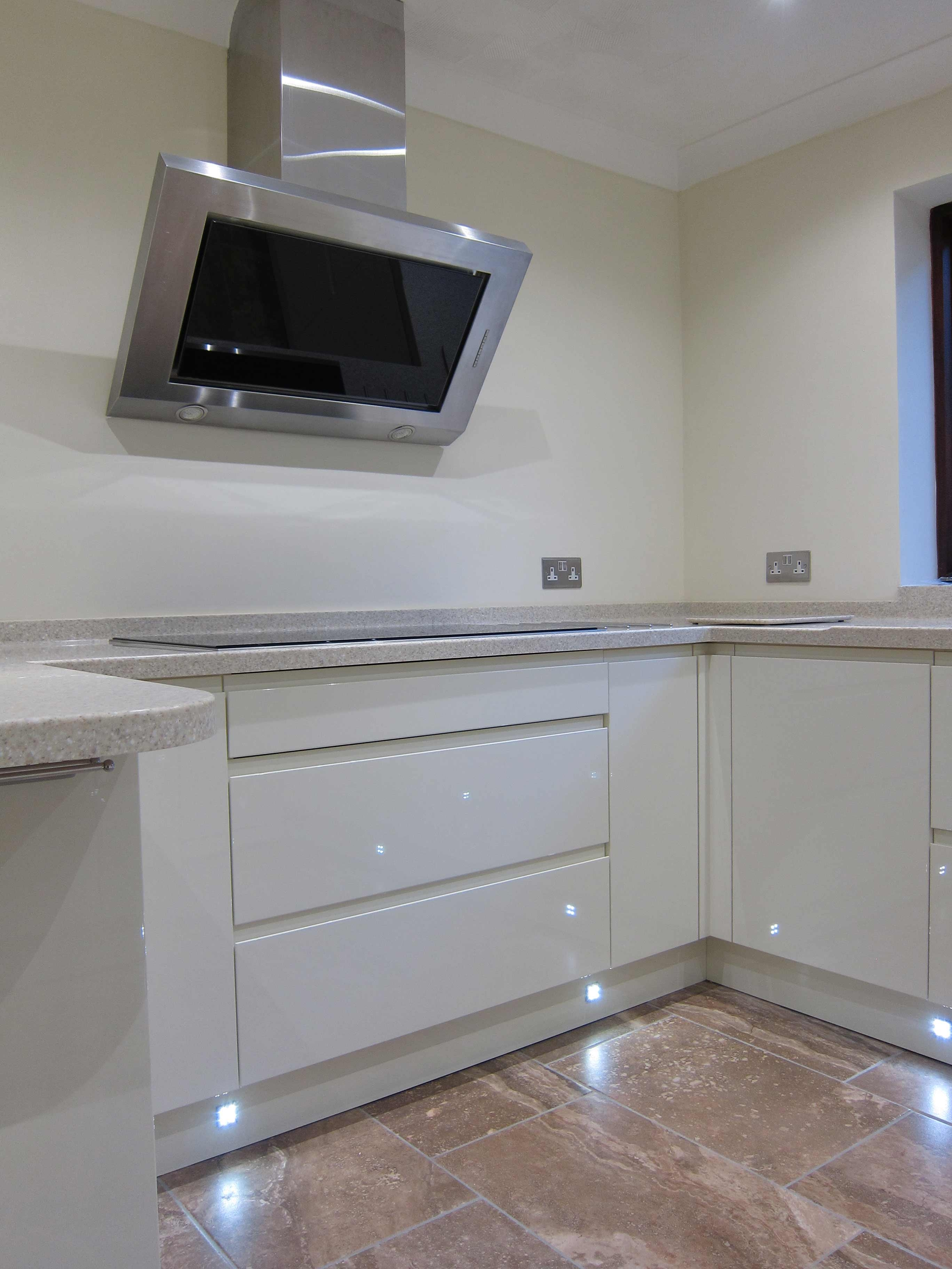Rimini Handleless Cream Led Plinth Lights Pebble Kitchens Regarding Plinth Drawers (#12 of 15)