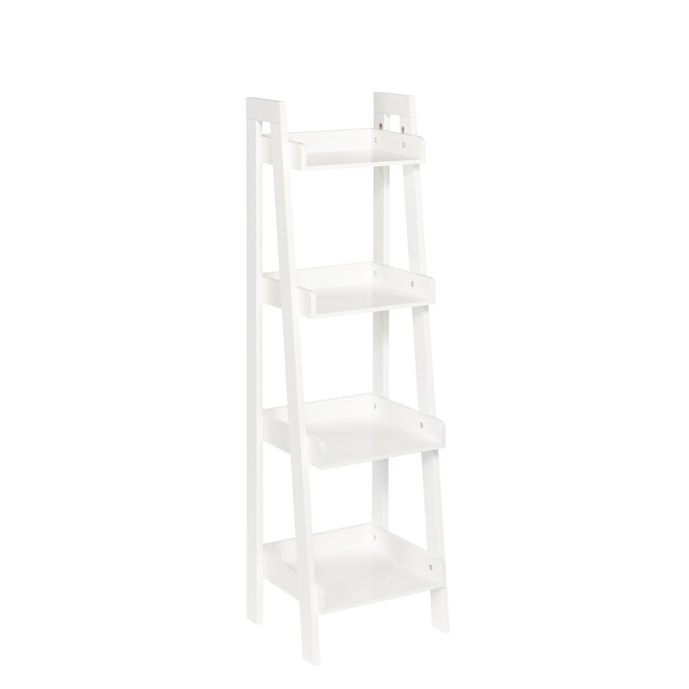 Riverridge Home 13 In X 44 In 4 Tier Ladder Shelf In White 02 With White Ladder Shelf (View 7 of 15)