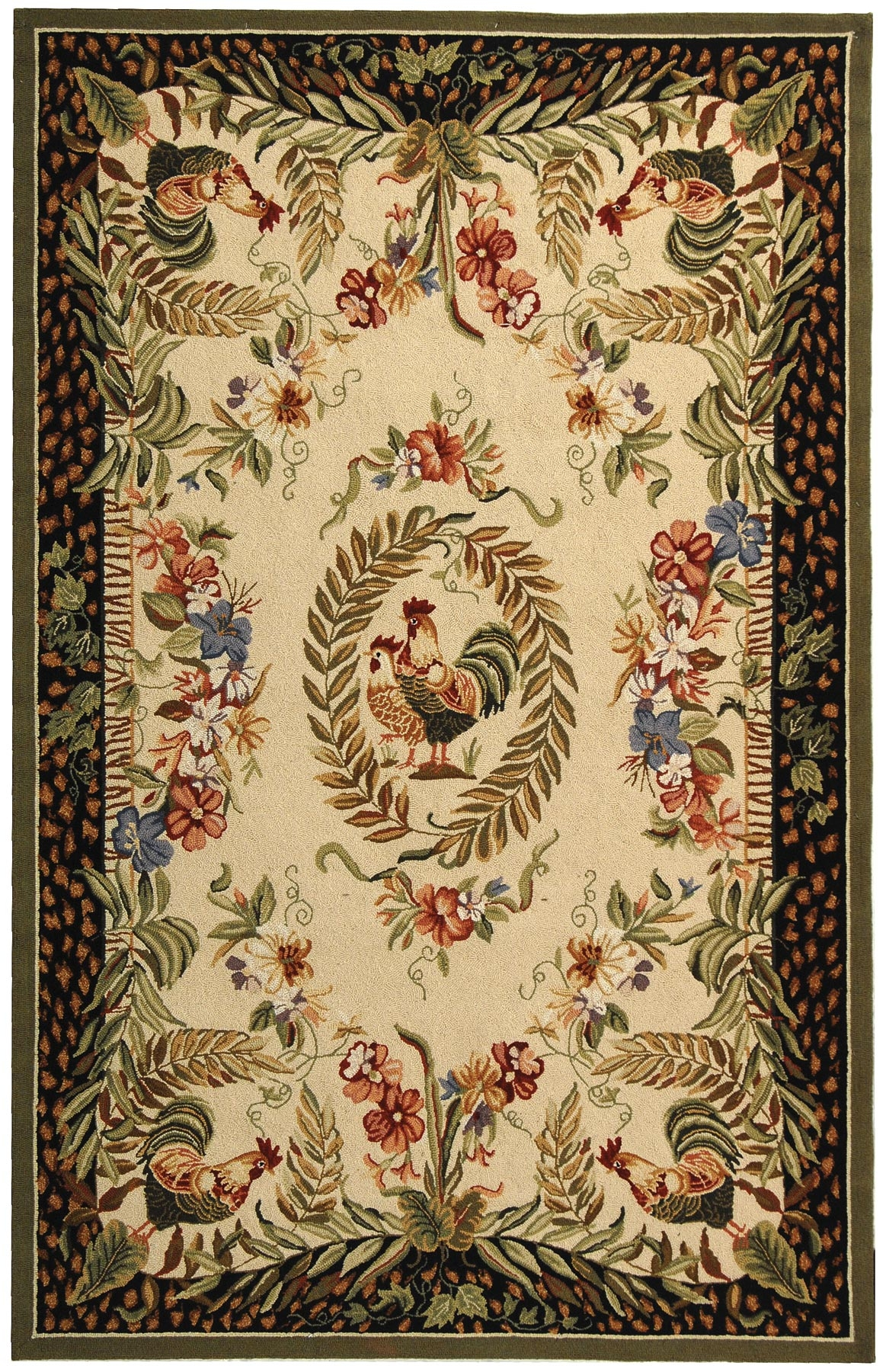 Rooster Hand Hooked Wool Area Rug Home Designs Within Hand Hooked Wool Area Rugs (#9 of 15)