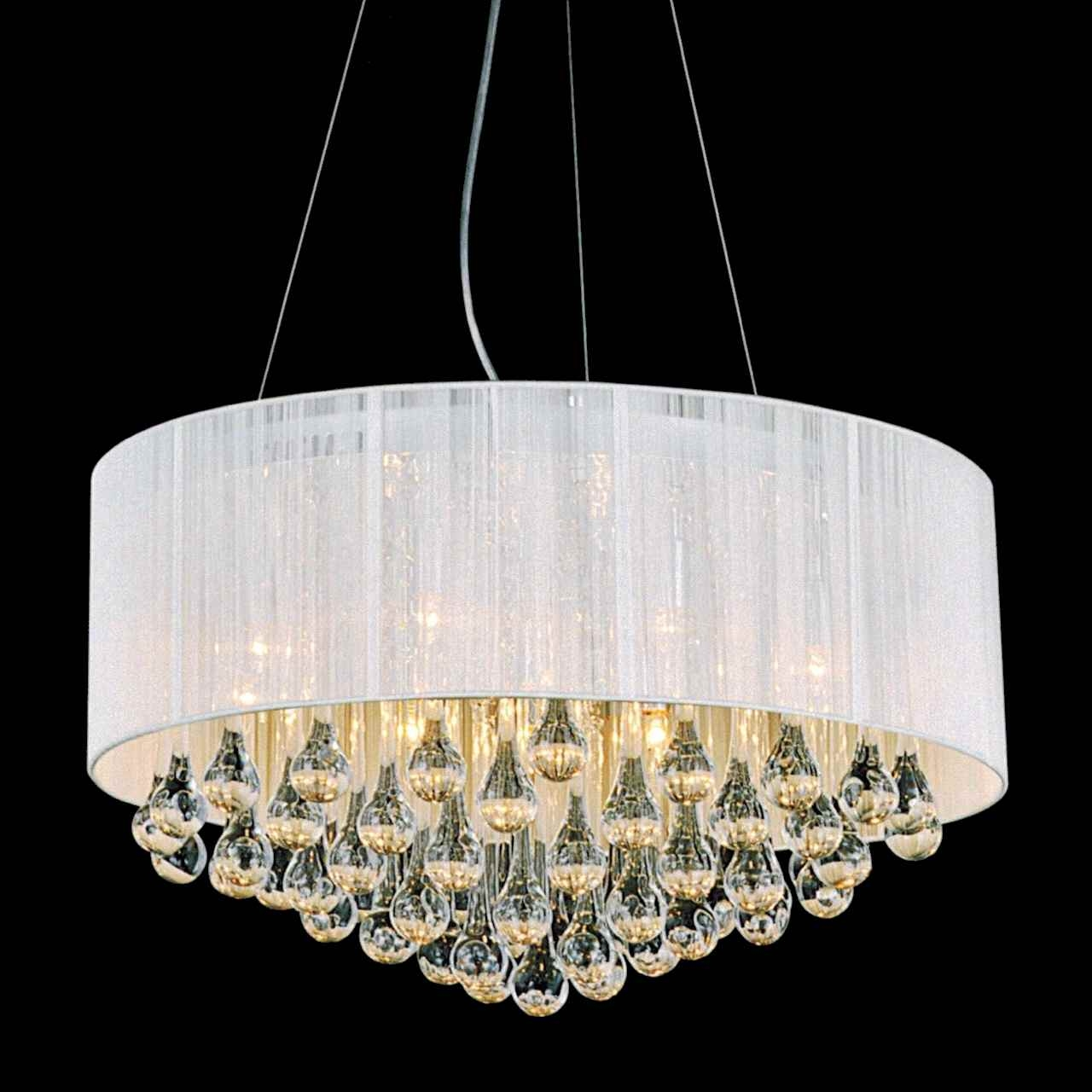 Round Modern Chandelier Lighting With White Drum Shades And For White Contemporary Chandelier (#10 of 12)