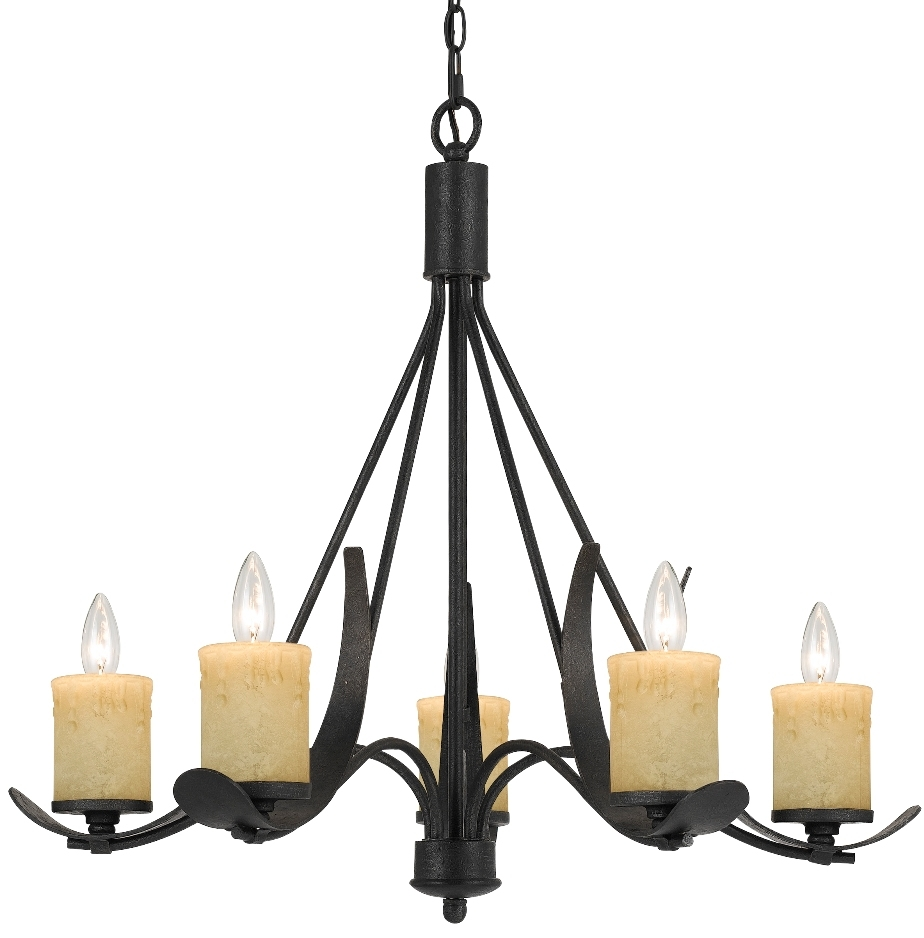 Rustic 5 Candle Light Blacksmith Iron Chandelier Lamp Shade Pro Within Iron Chandelier (#9 of 12)