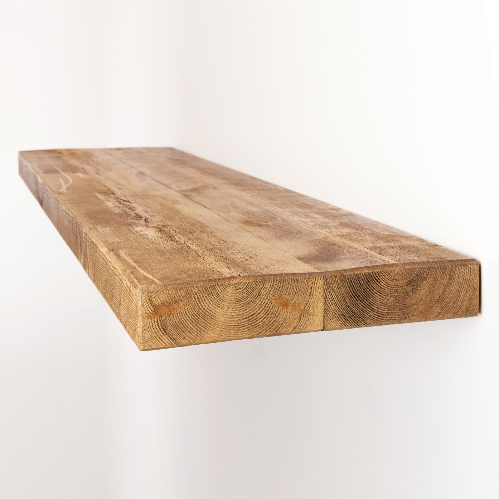 Rustic Floating Shelf 12×2 Solid Pine Funky Chunky Furniture Within Floating Shelf 50cm (#10 of 12)