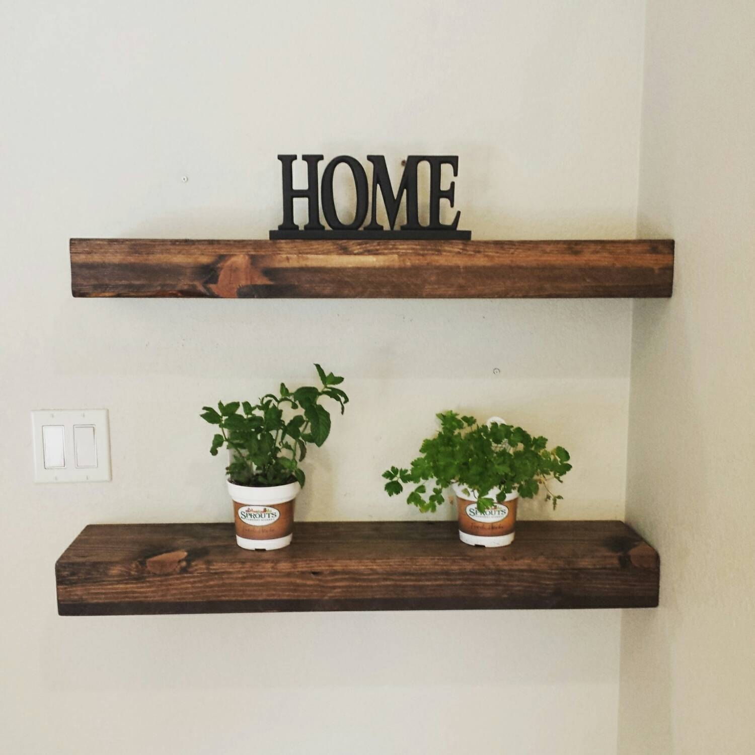 Rustic Reclaimed Wood Dark Walnut Floating Shelf Wall Shelf For Floating Shelves (#12 of 12)