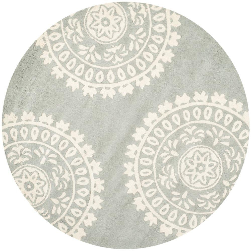 Safavieh Bella Greyivory 7 Ft X 7 Ft Round Area Rug Bel121a 7r Regarding Round Wool Area Rugs (#13 of 15)