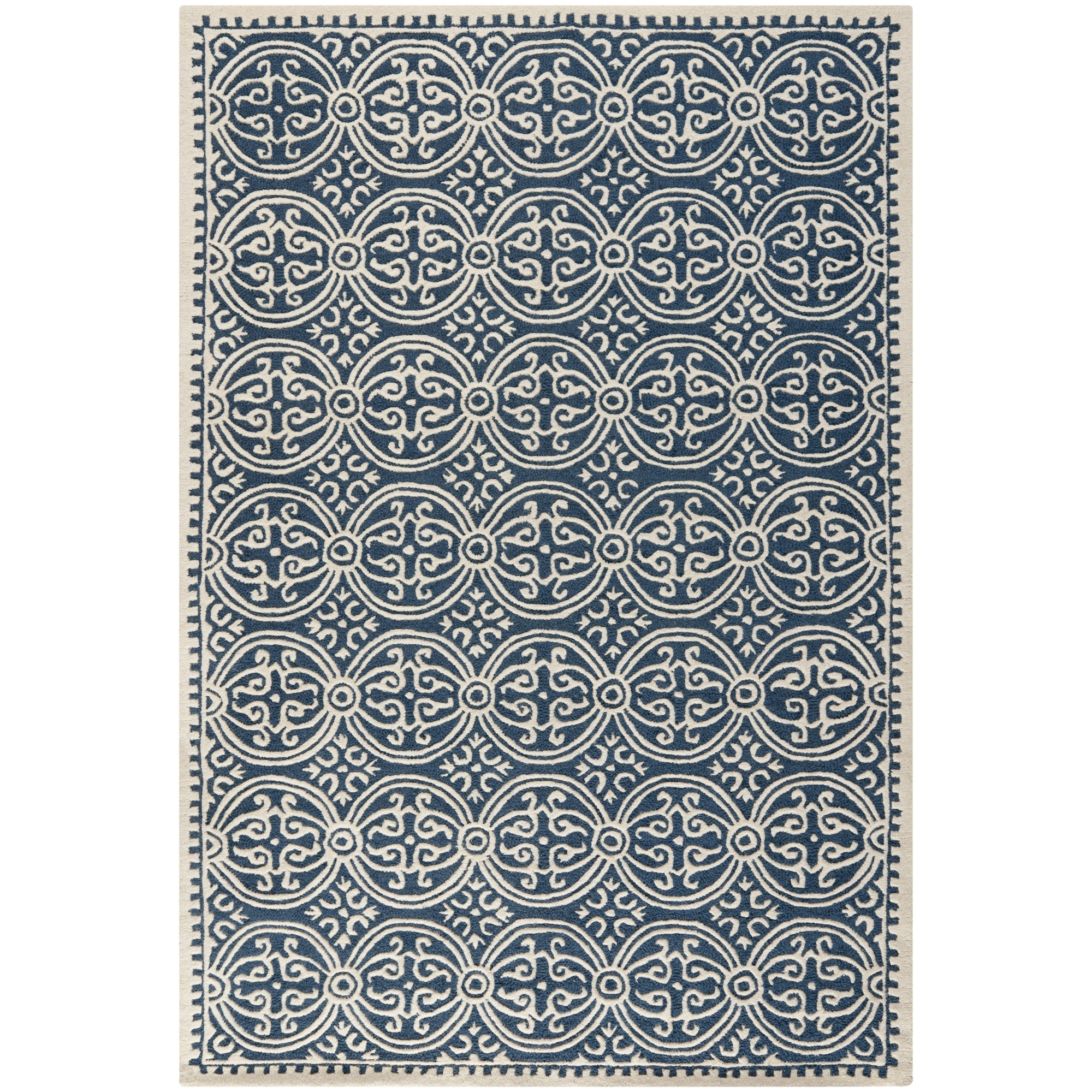 Safavieh Cambridge Navy Blue Ivory Wool Contemporary Area Rug Pertaining To Wool Contemporary Area Rugs (#15 of 15)