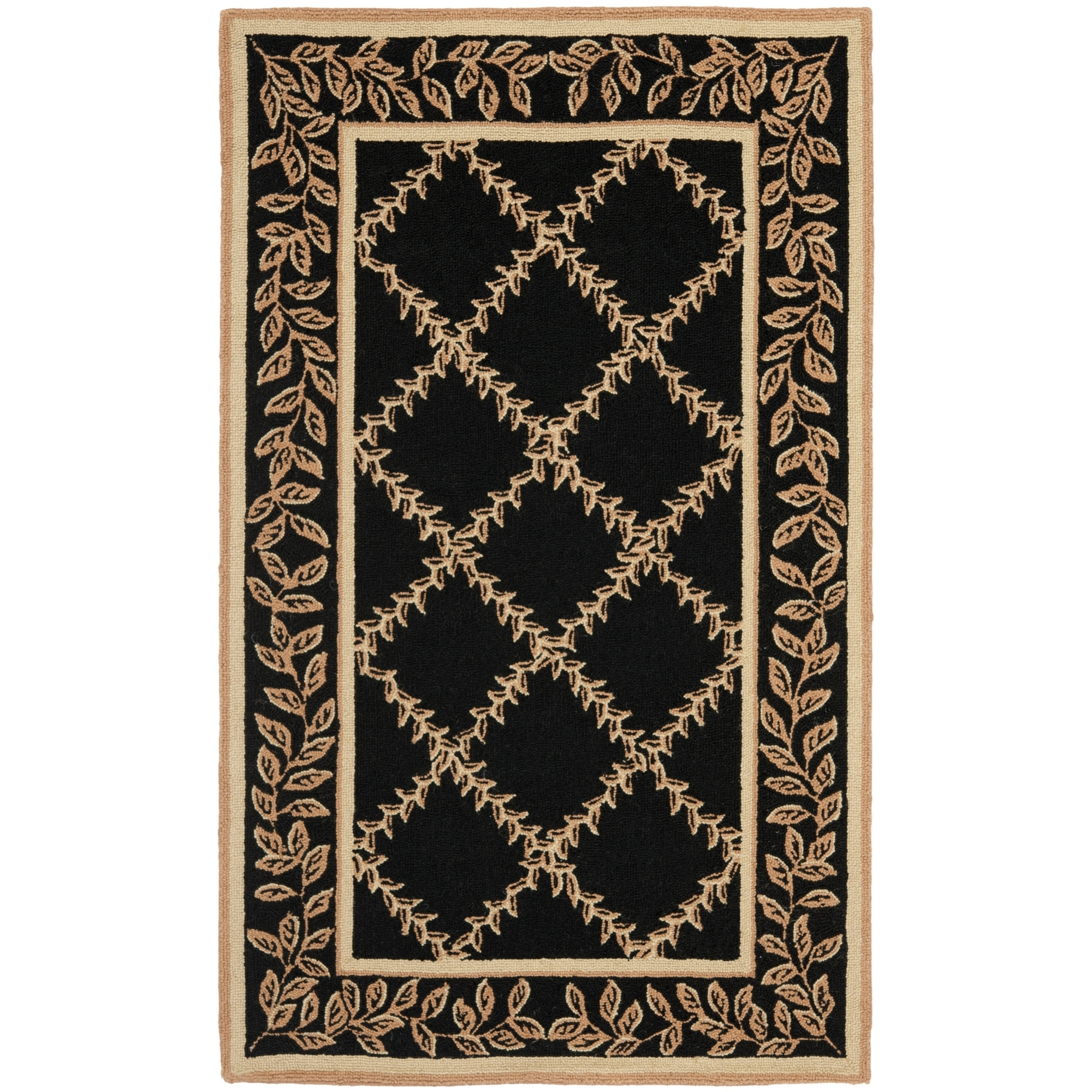 Safavieh Chelsea Hand Hooked Black Beige Wool Area Rugs Hk230d Within Hand Hooked Wool Area Rugs (#11 of 15)