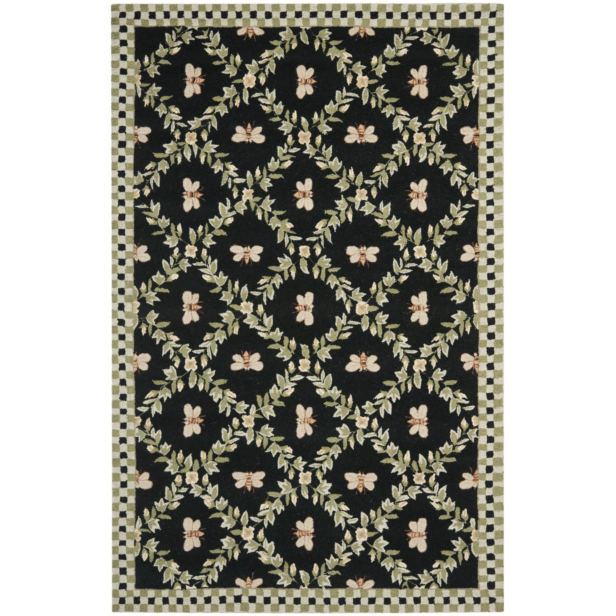 Safavieh Chelsea Hand Hooked Black Wool Area Rugs Hk55b Regarding Black Wool Area Rugs (#12 of 15)