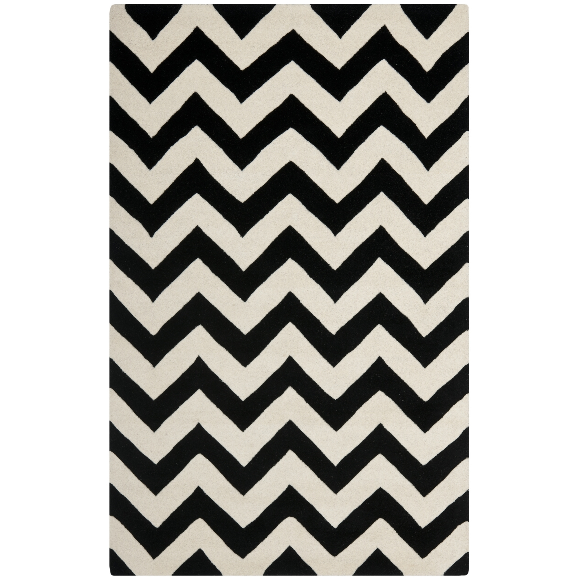 Safavieh Hand Tufted Chatham Ivoryblack Wool Area Rugs Cht715a With Regard To Black Wool Area Rugs (#15 of 15)