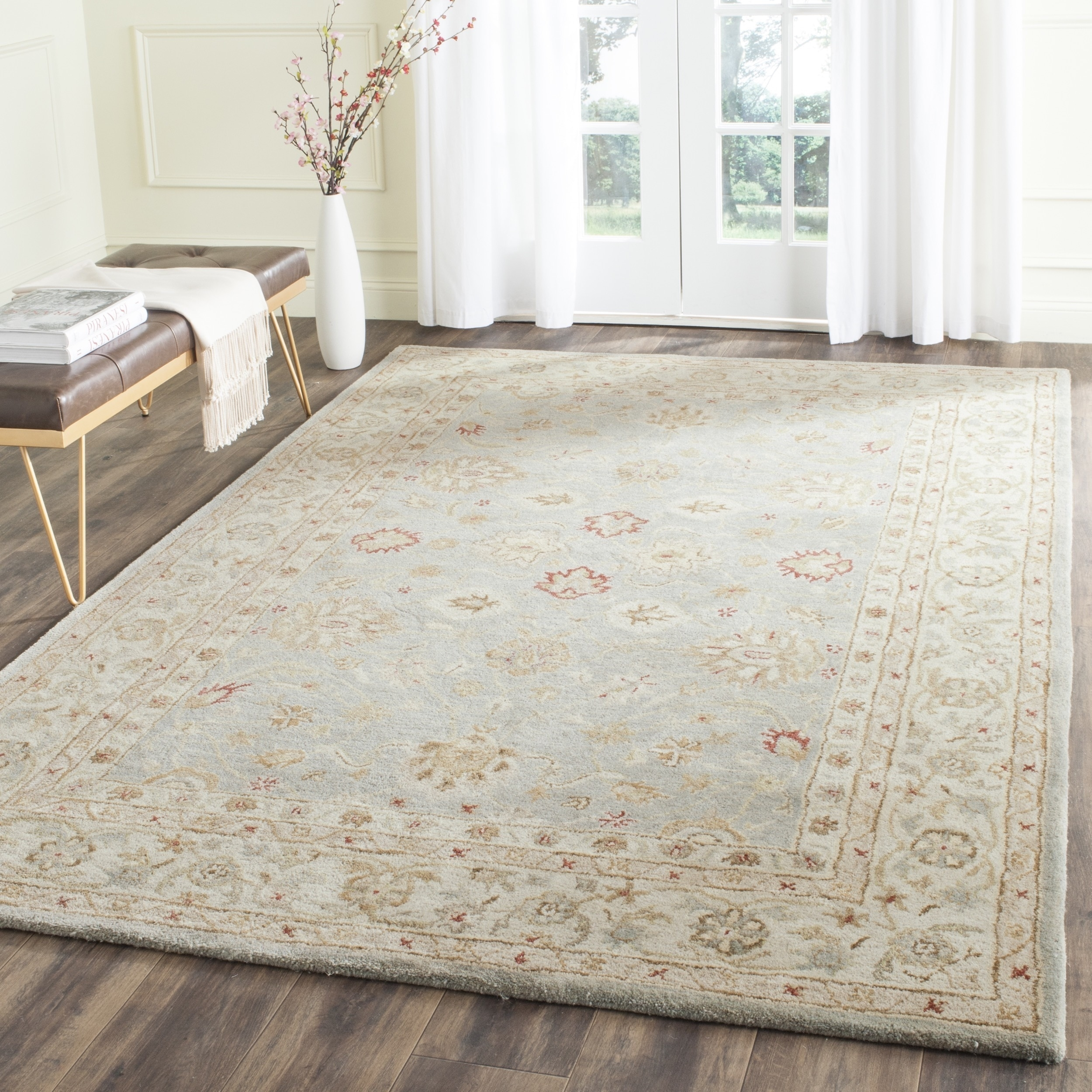 Safavieh Handmade Antiquity Blue Grey Beige Wool Rug 76 X 96 Within Wool Area Rugs 10× (#14 of 15)