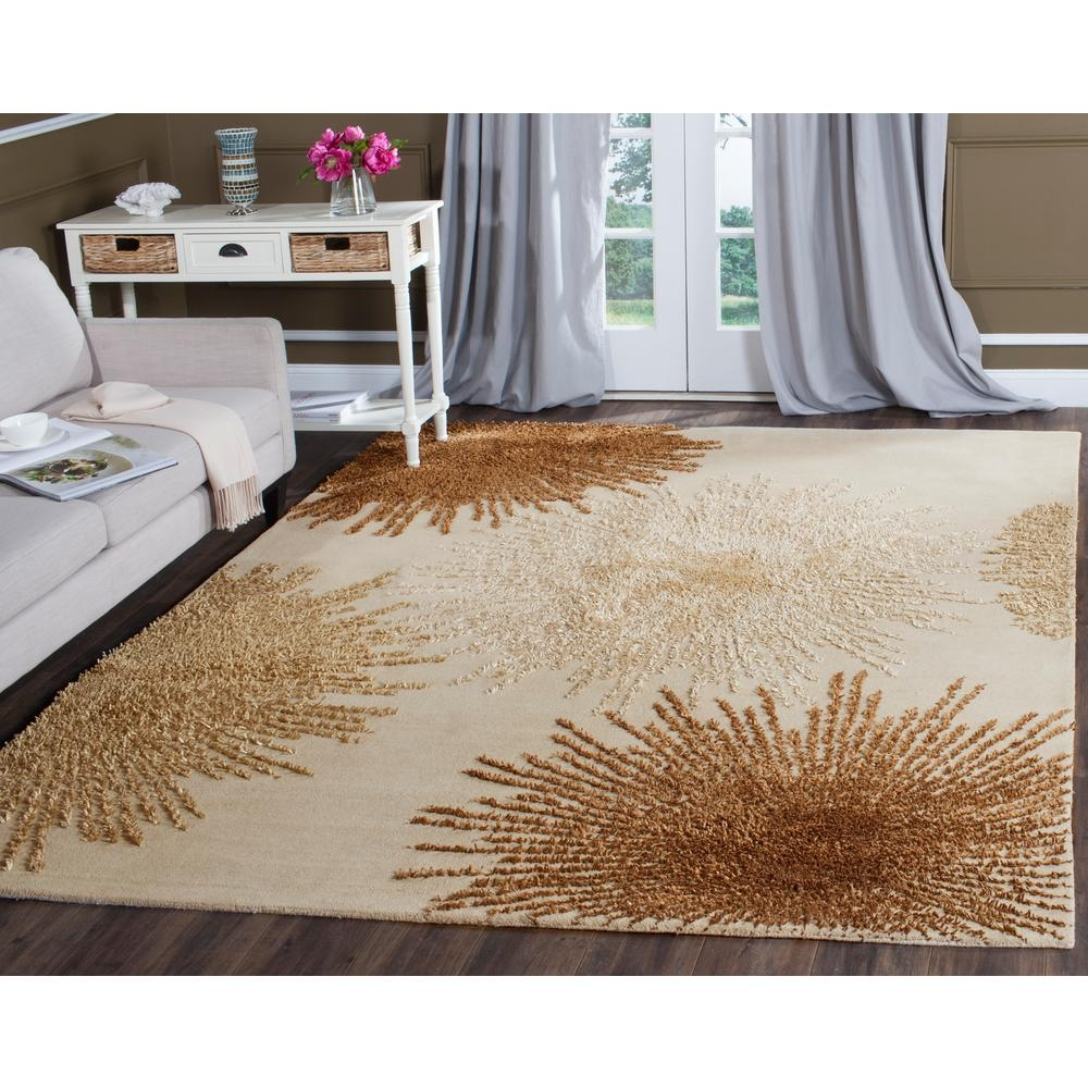 Safavieh Soho Beige Wool 8 Ft X 8 Ft Square Area Rug Soh712a 8sq Intended For Square Wool Area Rugs (#11 of 15)