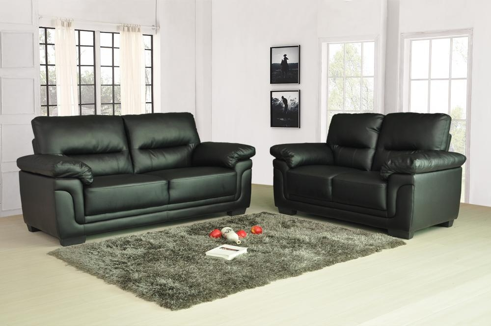Sale New Luxury Kansas Leather Sofas 3 2 Seater Super Value Free Regarding Black 2 Seater Sofas (#14 of 15)