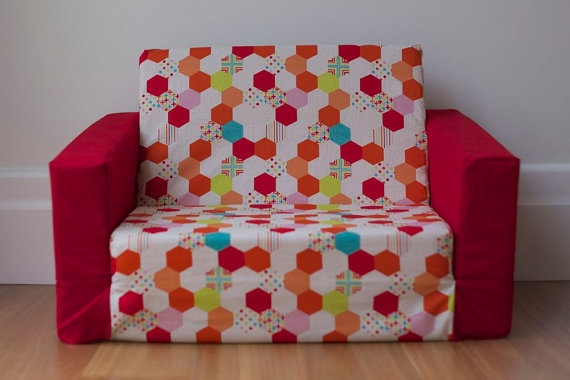 Sale Sample Kids Flip Out Sofa Cover Red Multi Colour Inside Flip Out Sofa  For Kids