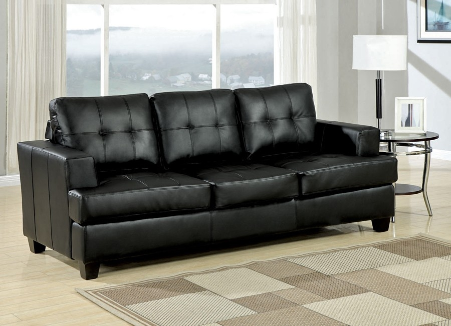 Samuel Black Leather Sofa Collection With Regard To Contemporary Black Leather Sofas (View 7 of 15)