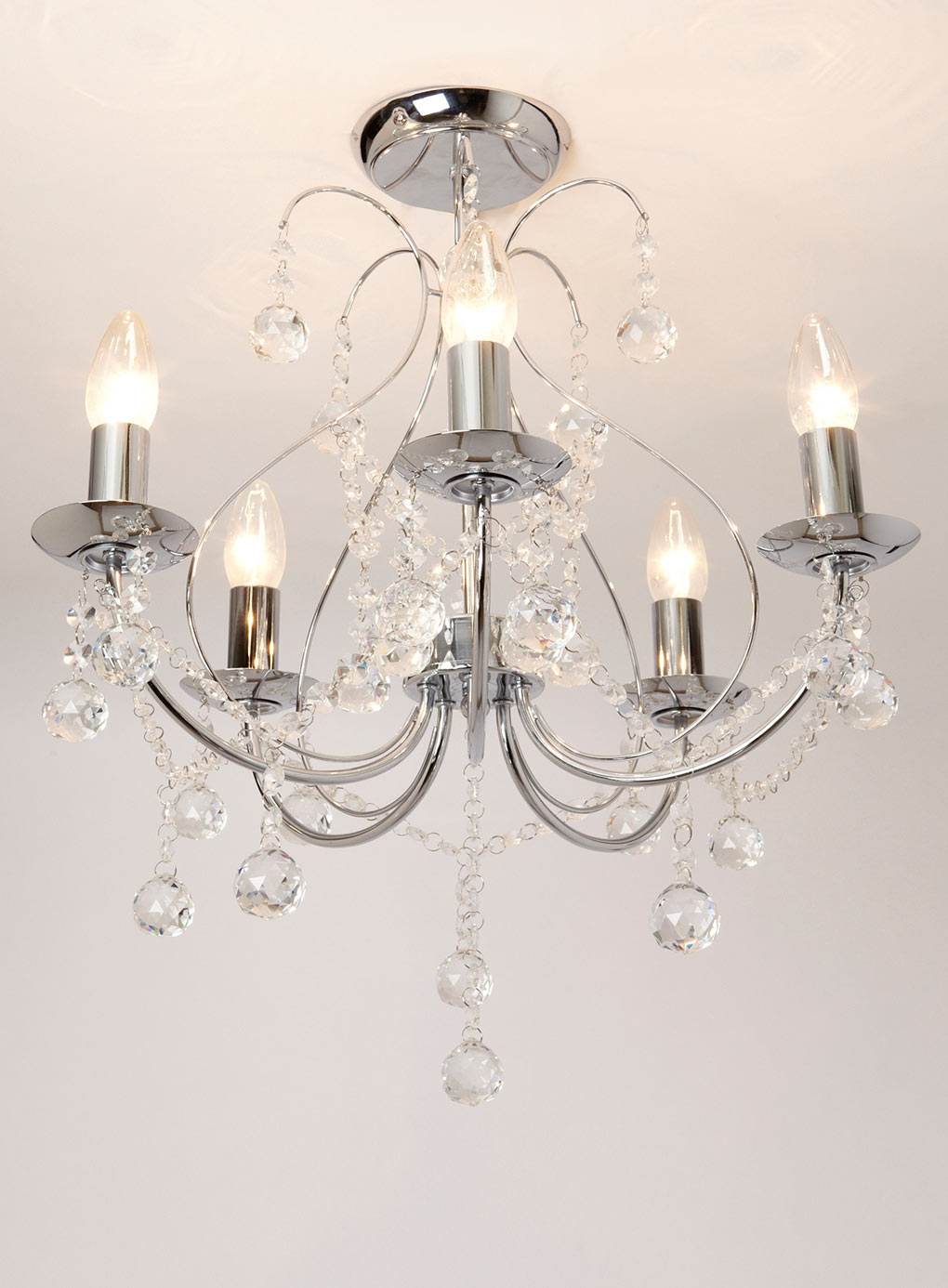 Sapparia 5 Light Flush Chandelier Bhs Chrome And Crystal Glass With Regard To Flush Fitting Chandelier (#11 of 12)