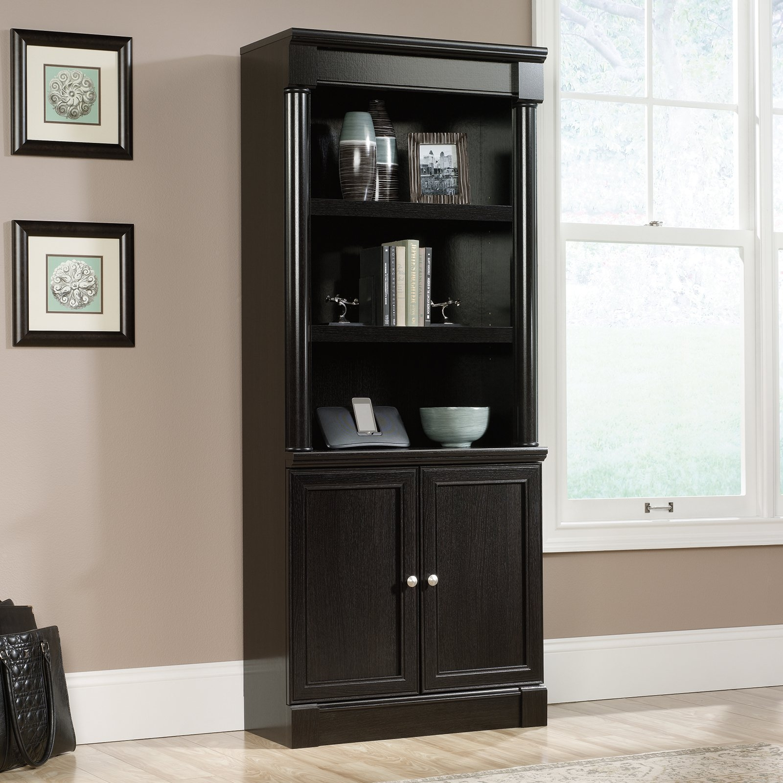Sauder Avenue Eight Library Bookcase With Doors Wind Oak In Bookcase With Doors (View 9 of 15)