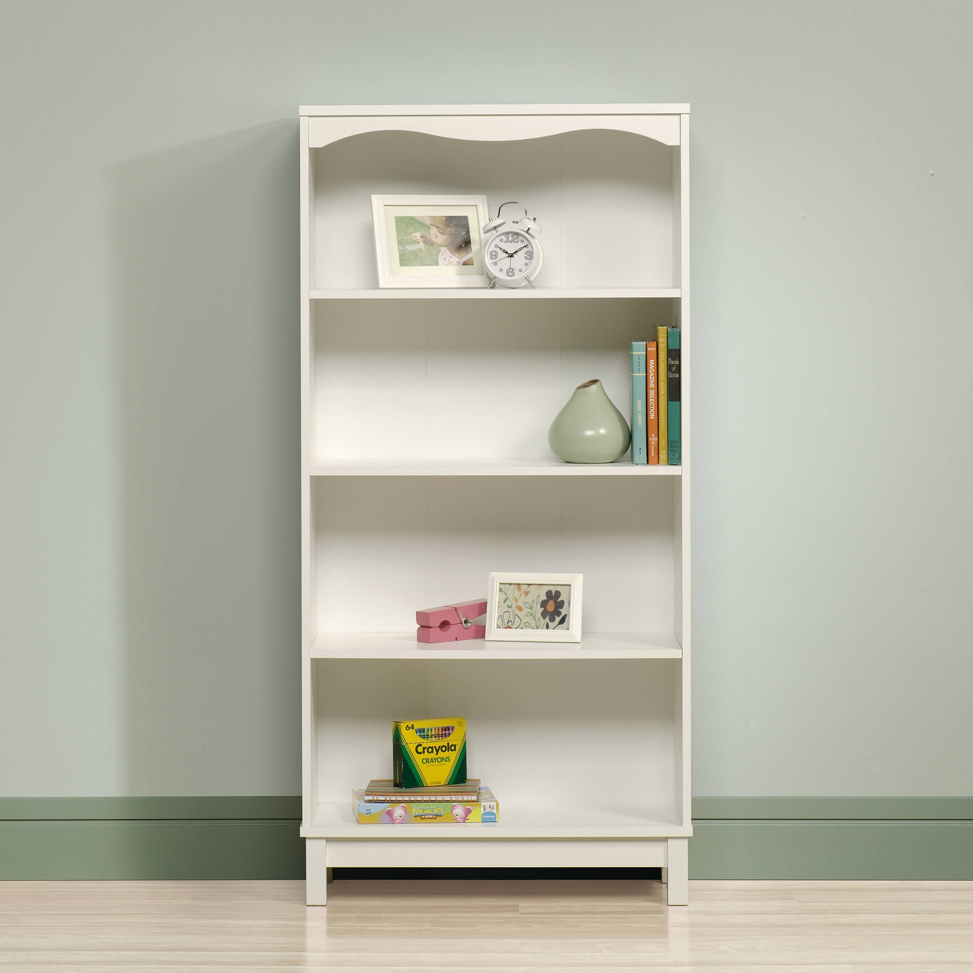 Sauder Cottage Road Library With Doors Soft White Walmart In White Bookcases (#10 of 15)