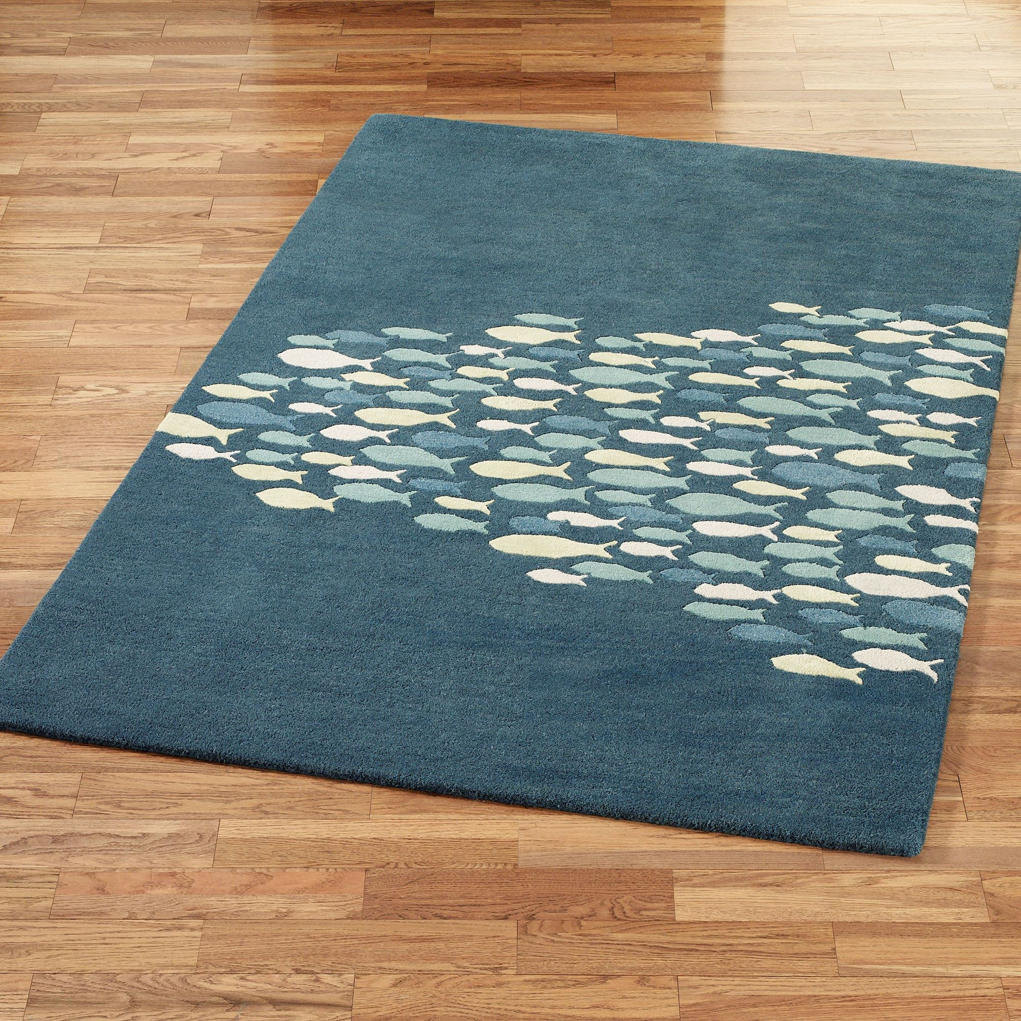Schooled Fish Wool Area Rugs With Wool Area Rugs (#13 of 15)