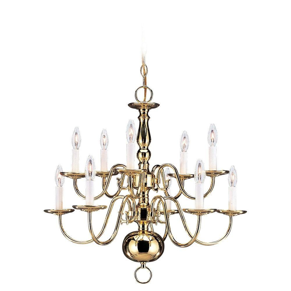 Sea Gull Lighting Traditional 10 Light Polished Brass Chandelier Inside Traditional Brass Chandeliers (#11 of 12)