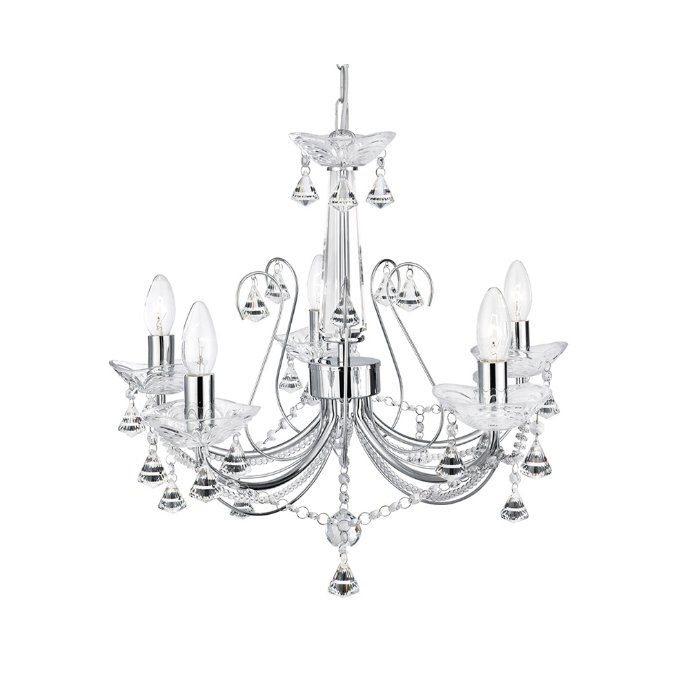 Searchlight 1395 5cc Lafayette 5 Light Chrome Chandelier With Regard To Chandelier Chrome (#11 of 12)