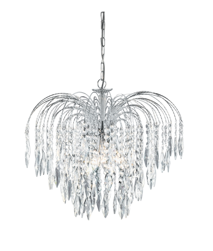 Searchlight 4175 5 Waterfall Chrome Chandelier Pertaining To Waterfall Crystal Chandelier (#9 of 12)