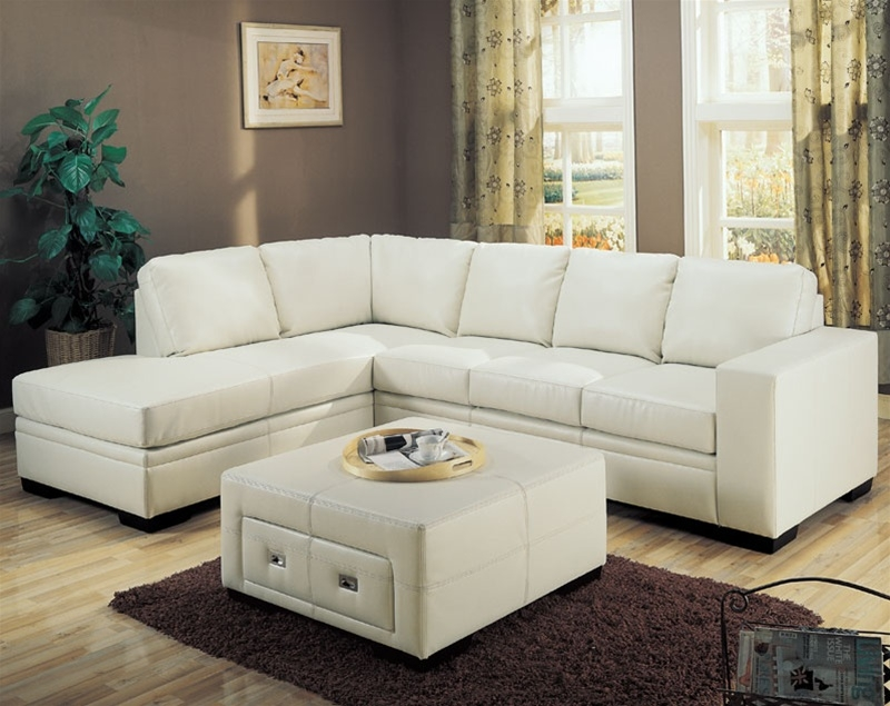 Sebo Collection Leather Sectional In Cream Sectionals Within Cream Sectional Leather Sofas (#14 of 15)