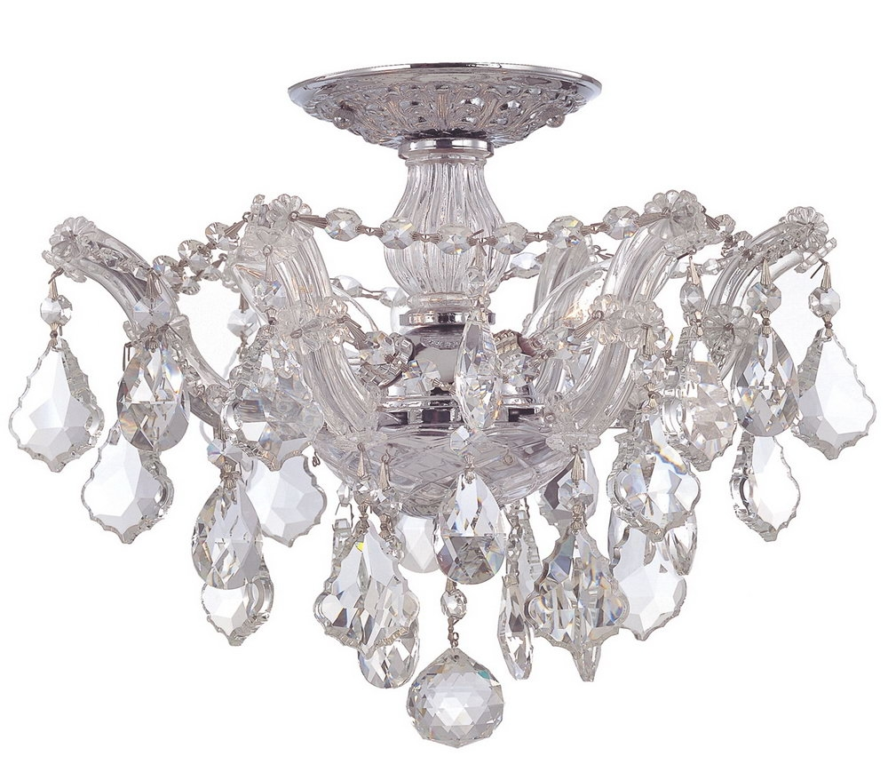 Semi Flush Mount Crystal Chandelier Shanti Designs Intended For Flush Chandelier (#11 of 12)