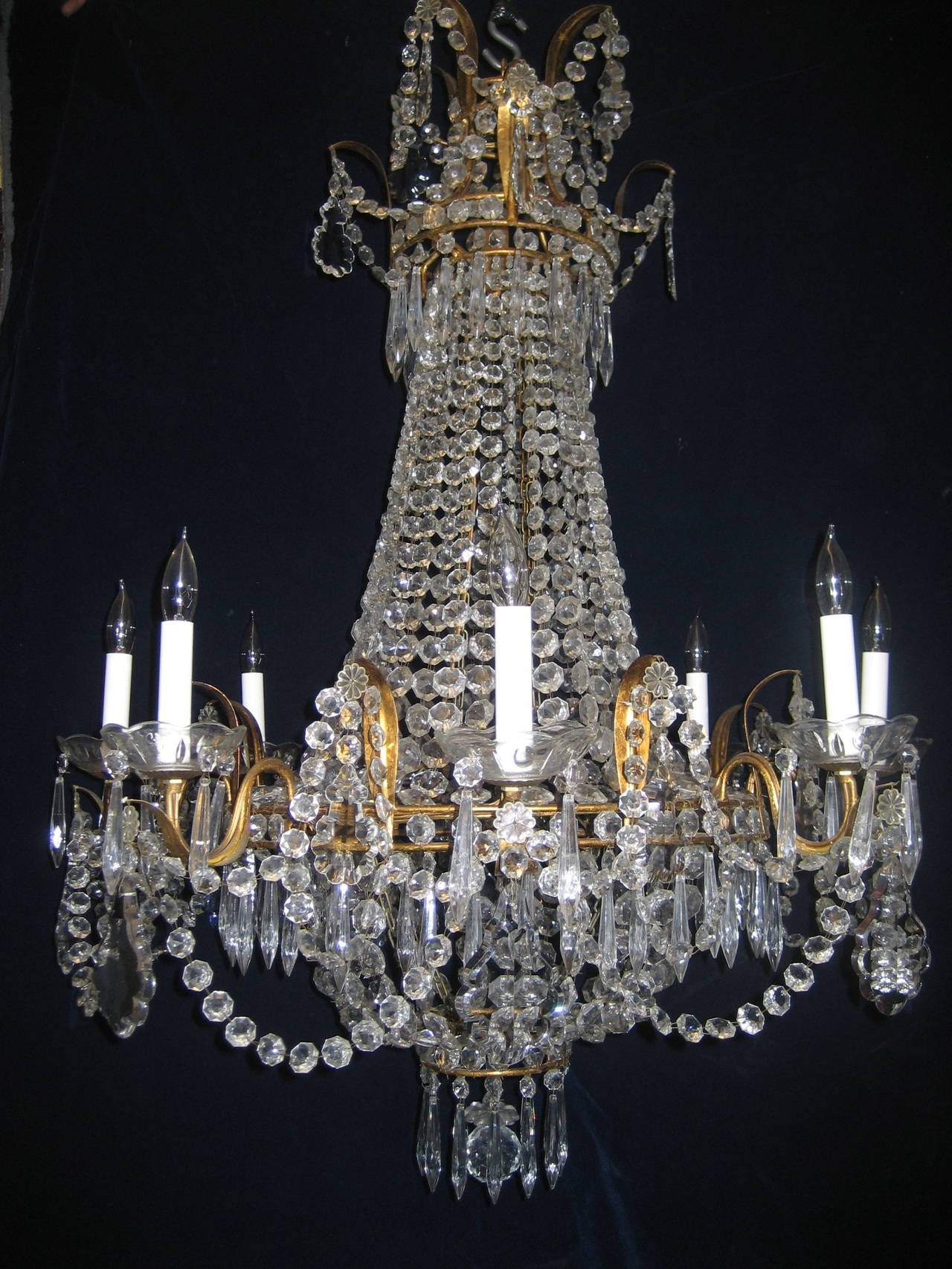 Set Of Three Antique French Louis Xvi Style Gilt And Crystal Pertaining To French Style Chandeliers (#11 of 12)