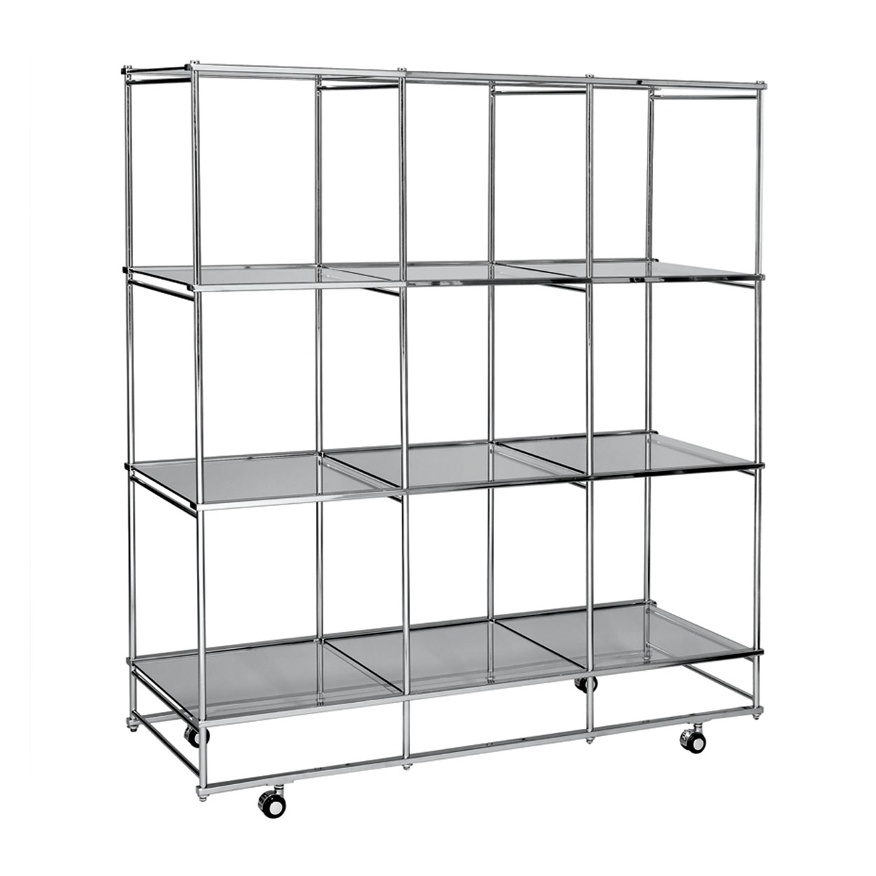 Shelf Tower Unit With 4 Adjustable Glass Shelves Med 477 L X 477 D Regarding Glass Shelf Fittings (View 8 of 12)