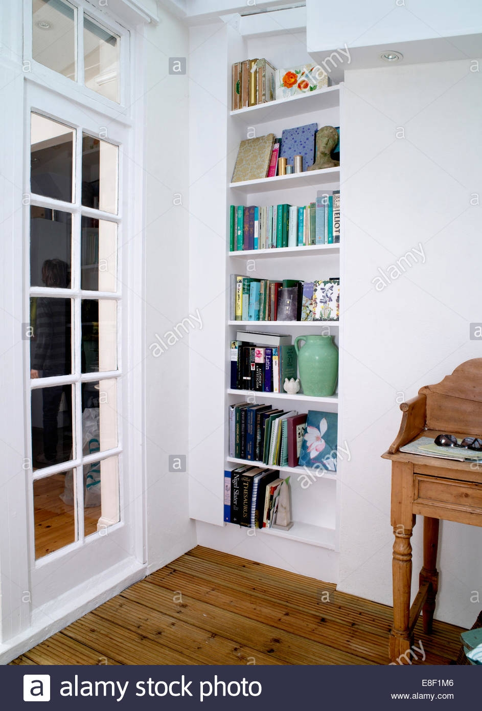 Shelving Beside Glazed Door In Self Build Conservatory Study Stock Pertaining To Study Shelving (View 11 of 15)