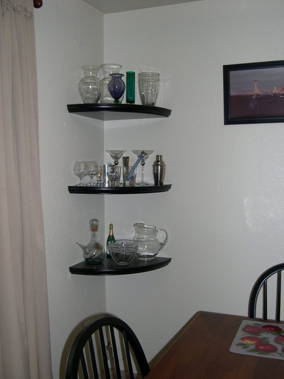 Shelving Ideas Glass Corner Shelves Corner Glass Shelves For Intended For Floating Corner Glass Shelves (#11 of 12)