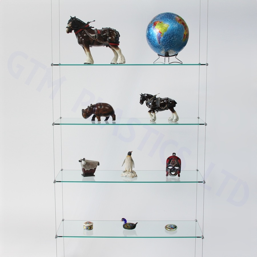 Shelving System Hanging Contemporary Glass For Shops How To Within Glass Shelf Cable Suspension System (#5 of 15)